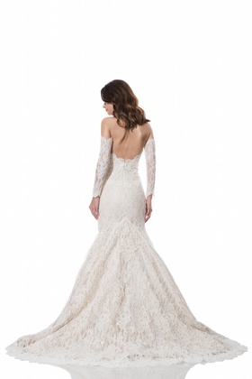 Back of lace Anya gown with sleeves by Olia Zavozina Fall 2016