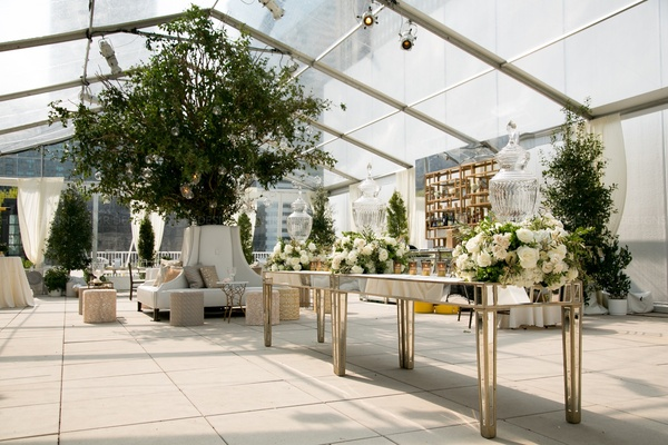 Green & white tree focal & centerpieces accenting the cocktail lounge area.