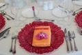 Tropical tablescape with orchid place topper