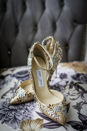 jimmy choo gold pointed toe shoes with ankle strap and metallic 3D flower details