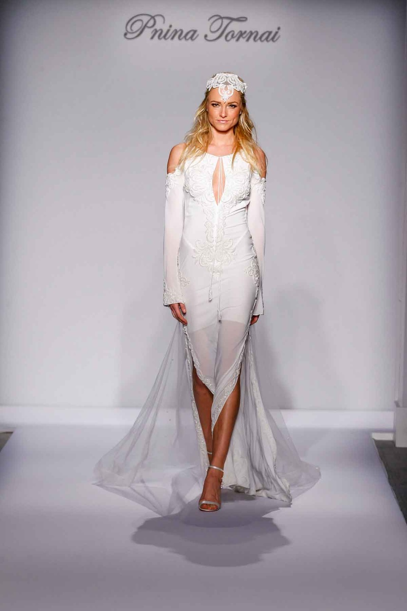Pnina Tornai for Kleinfeld 2016 long sleeve off the shoulder casual wedding dress