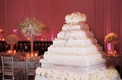 White square cake with cream petals