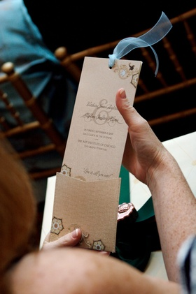 Espresso and blue ceremony booklet