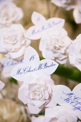 White fleur-de-lis shaped card with blue lettering