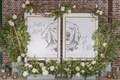 """diptych of bride and groom's dog with wedding hashtag and """"hugs and kisses for the mr. & mrs."""""""