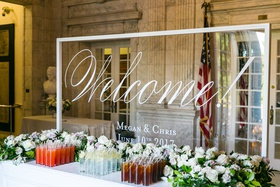 Acrylic clear lucite welcome sign with calligraphy and names wedding date table with refreshments