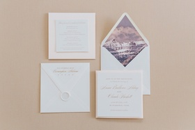 Save the Date with landscape envelope liner and wax seal calligraphy