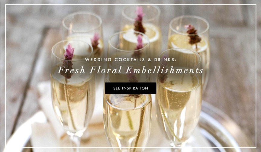 Fresh flower drink accents for wedding cocktails