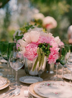 Vintage-inspired tablescape and china plates