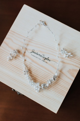 Wedding day jewelry with clusters of pearls and crystals