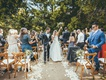 outdoor wedding among the trees in napa, celebrating newlyweds in recessional