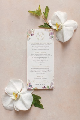 wedding reception menu with monogram and illustrations of flowers in the corner.