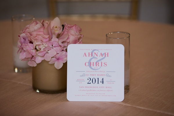 Square Wedding Paper Divas invitation with rounded corners and pink and blue print