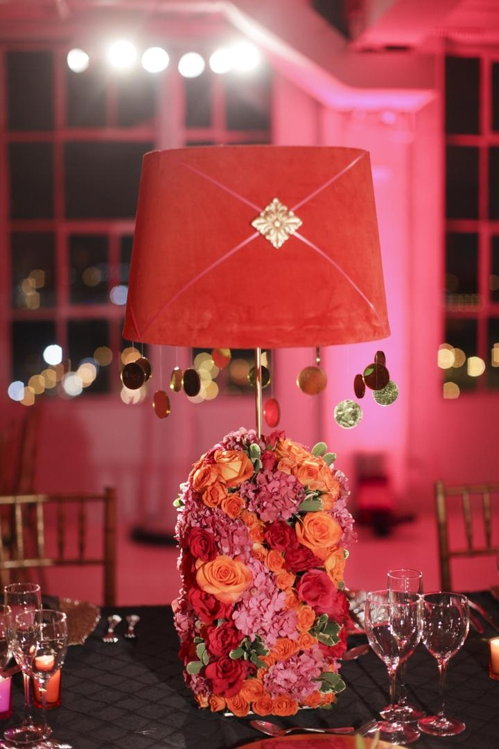Pink lampshade with gold dangling circles