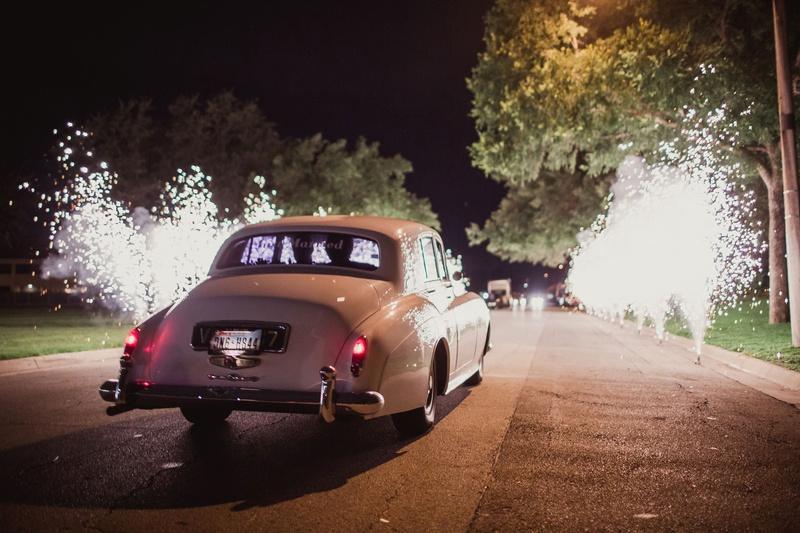 vintage car exit with fireworks