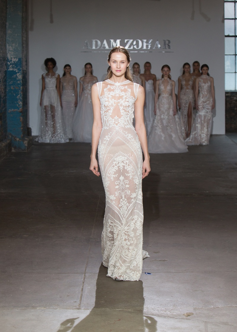Darla by Adam Zohar Spring 2019, sleeveless, sheer column gown with floral and geometric details.