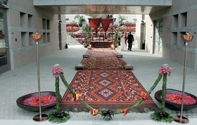 Entrance to Moroccan lounge wedding ceremony