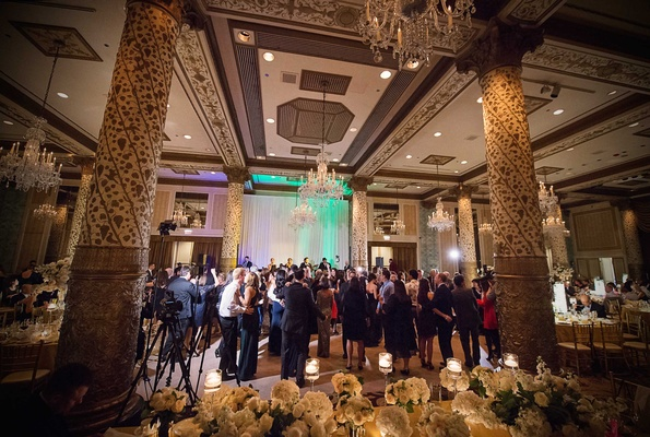 a dance floor featuring gold and champagne detailing in a chicago ballroom