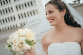 White floral bouquet and bride-to-be