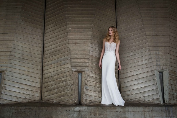 Limor Rosen 2017 Sophia wedding dress beaded top chiffon skirt Urban Dreams collection