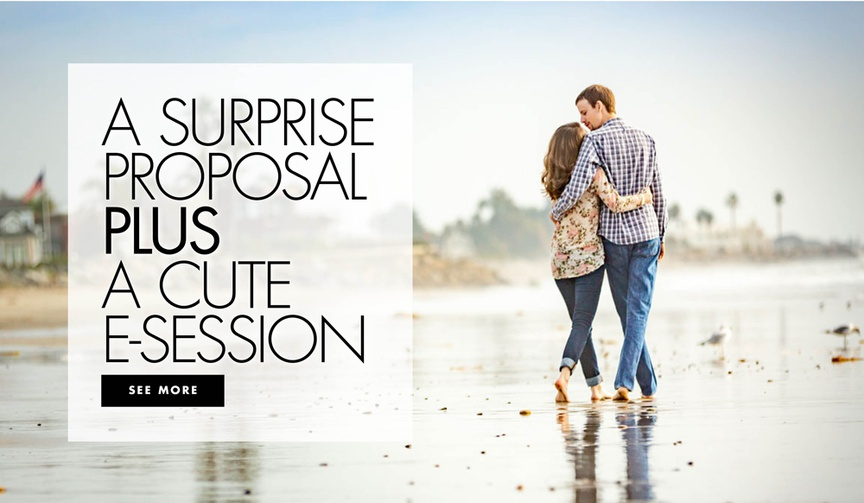A surprise proposal plus a cute engagement shoot session on the beach