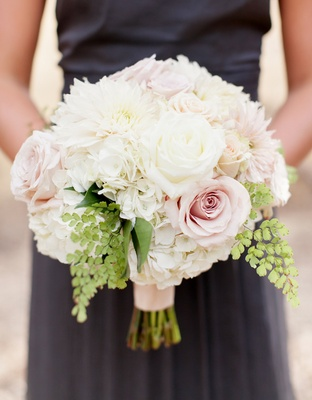 Bridesmaid bouquet of pink roses, hydrangeas, and white dahlias