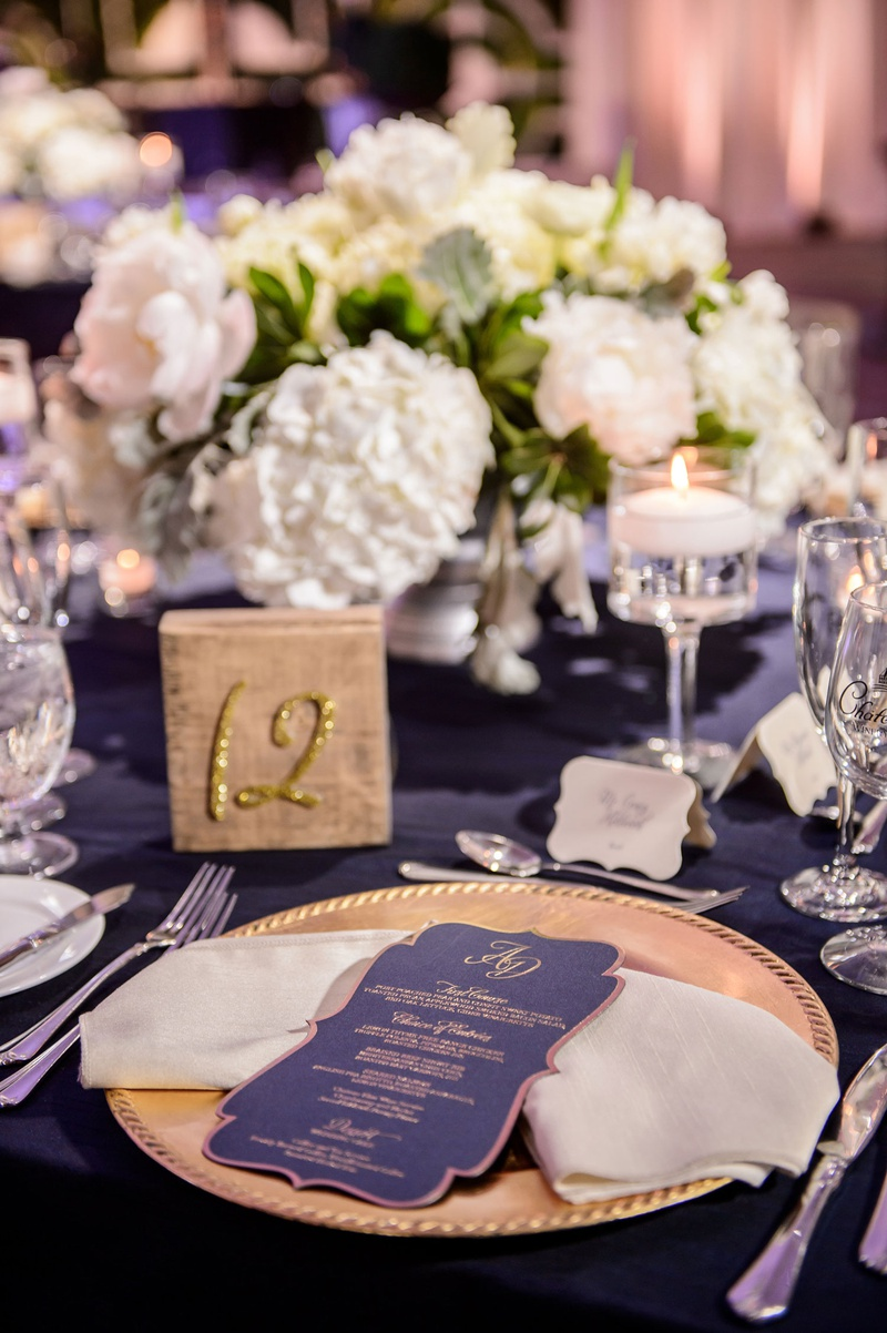 Reception Décor Photos Navy Blue Gold Menu On Charger Inside