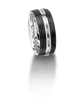 Furrer Jacot 71-29080 palladium and carbon fiber wedding band