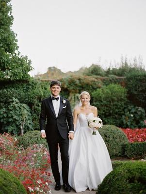 bride in martina liana ball gown, groom in tuxedo, bride and groom in garden, garden wedding