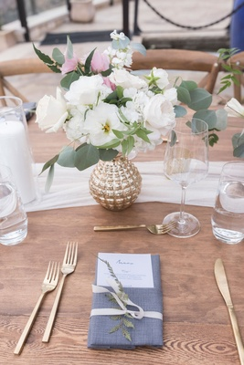 Wedding reception wood table white runner gold vase white pink flowers roses eucalyptus gold forks