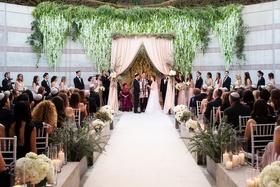 Outdoor wedding ceremony skirball cultural center jewish wedding mixed bridesmaids groomsmen chuppah