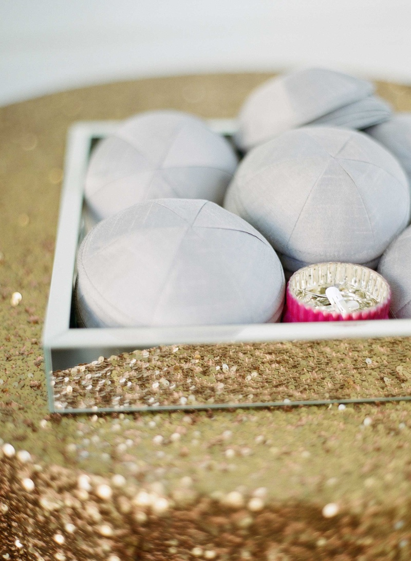 Gold sequin table linen with mirror tray grey yarmulke for Jewish wedding in Palm Beach Florida
