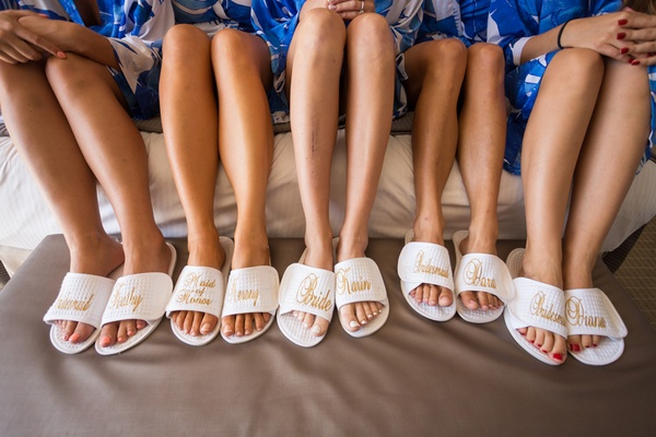 bride maid of honor bridesmaids custom bath slippers gold blue robes hotel del coronado wedding gift