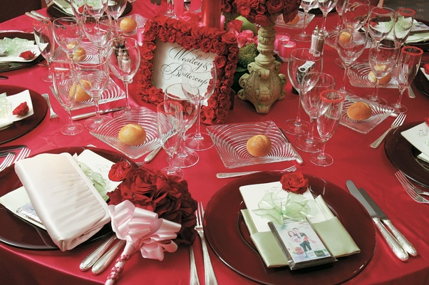 Red tablescape with red roses and plates