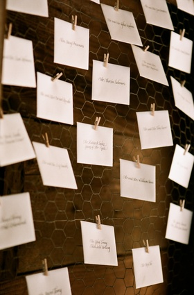 Place cards clipped to chicken wire with clothespin