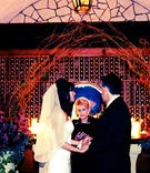 Winter wedding ceremony in hotel wine cellar