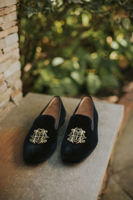 groom shoes black velvet loafers with gold embroidery monogram on shoe