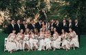 Groomsmen and bridesmaids including Danielle Fishel