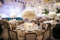 Beverly Hills wedding with chandeliers and rose centerpieces
