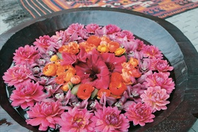 Stone bowl filled with water and topped with pink and purple flowers