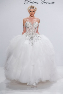 Pnina Tornai for Kleinfeld 2017 Dimensions Collection finale dress ball gown strapless basque waist
