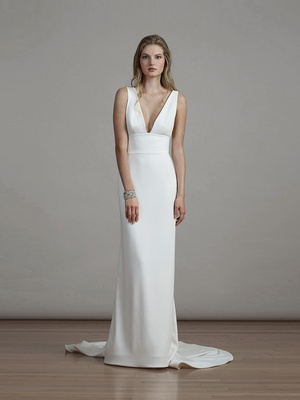 Liancarlo spring 2018 Matt crepe sheath gown plunging v-neckline clean illusion tulle back bridal