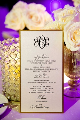 Chad Carroll and Jennifer Stone fall wedding menu with gold border and monogram
