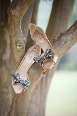 Nude Valentino bridal heels with crystal bow