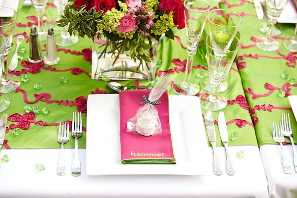 Pink custom napkin and tablescape