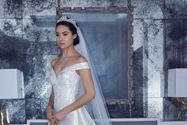Romona Keveza Spring 2019 collection satin off the shoulder ball gown with basque waistline