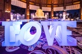 LOVE dessert table legs writing uplighting blue purple night wedding hotel del coronado details