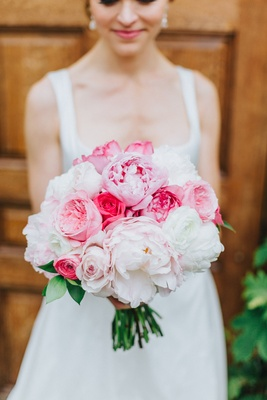 bouquet with white peonies, blush peonies, pink peonies