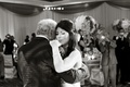 Black and white photo of sentimental dad daughter dance