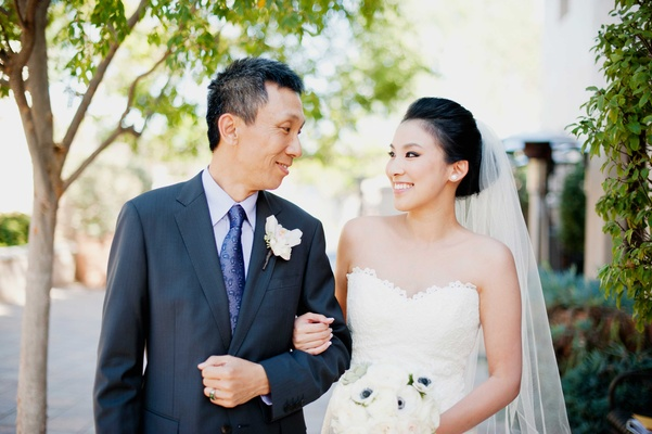 Bride in romona keveza looks to father before going down the aisle